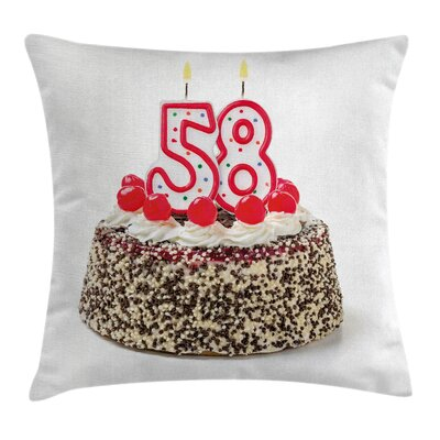 Cahe Cherries Sweet Square Pillow Cover Size: 20 x 20