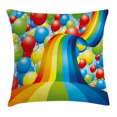 Rainbow Balloons Ribbons Wavy Square Pillow Cover Size: 16 x 16
