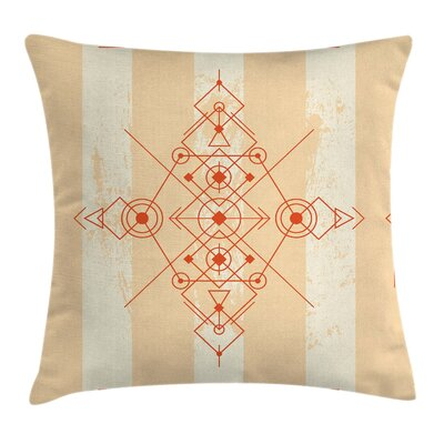 Geometric Circles Triangles Pillow Cover Size: 18 x 18
