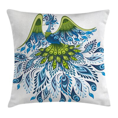 Peacock Abstract Bird Figure Pillow Cover Size: 16 x 16