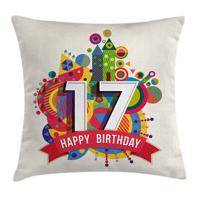 Party Geometric Sweet Seventeen Square Pillow Cover Size: 18 x 18