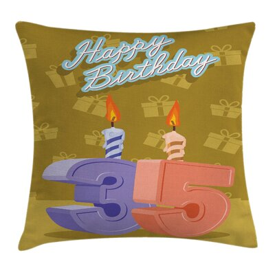 Birthday Candles Presents Square Pillow Cover Size: 16 x 16