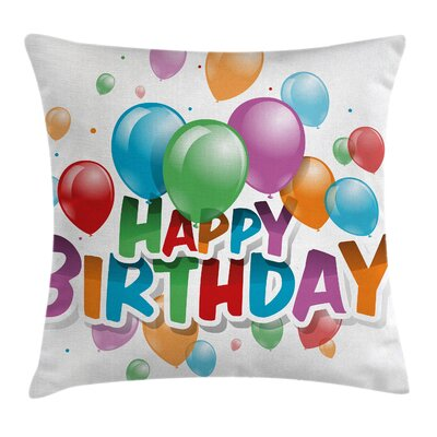 Fun Balloon Burst Celebration Square Pillow Cover Size: 24 x 24