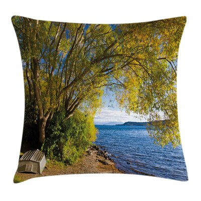 Fishing Boat under the Tree Pillow Cover Size: 18 x 18
