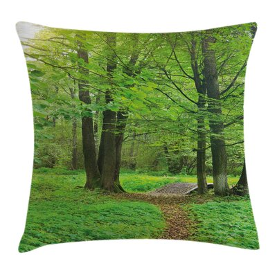 Forest Summer Trees Tranquil Pillow Cover Size: 24