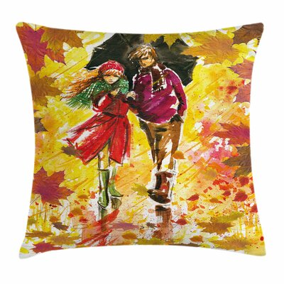 Fall Decor Couple Autumn Alley Square Pillow Cover Size: 18 x 18