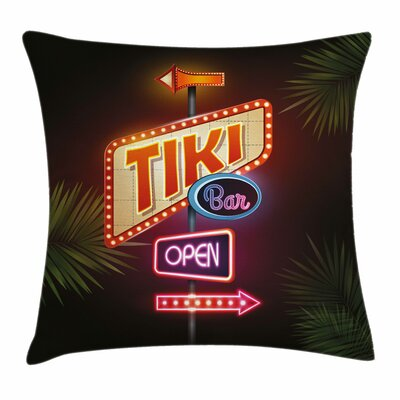 Tiki Bar Decor Sign Design Square Pillow Cover Size: 18 x 18