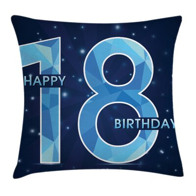 Galaxy Star Birthday Party Square Pillow Cover Size: 16 x 16