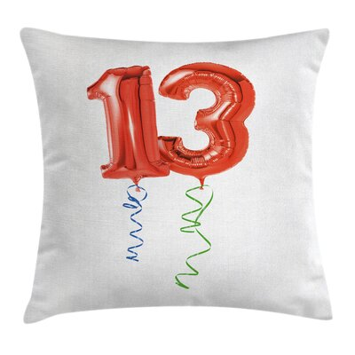 Party Balloons Thirteen Square Pillow Cover Size: 24 x 24