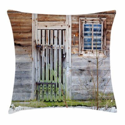 Primitive Country Old Farmhouse Square Pillow Cover Size: 18 x 18