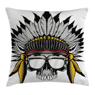 Skull Tribe Leader Feather Head Pillow Cover Size: 18 x 18