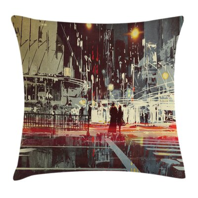 Modern Gloomy City Streets Pillow Cover Size: 16 x 16