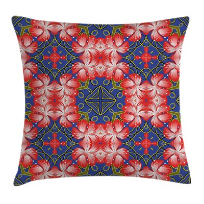 Floral Blossoms Bands Vibrant Pillow Cover Size: 18 x 18