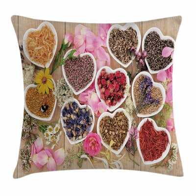 Floral Healing Herbs Cute Bowls Square Pillow Cover Size: 16 x 16
