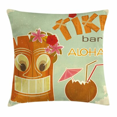 Tiki Bar Decor Drink Mask Flora Square Pillow Cover Size: 24 x 24