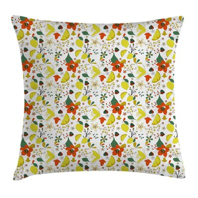 Floral Spring Lemons Leaves Pillow Cover Size: 18 x 18