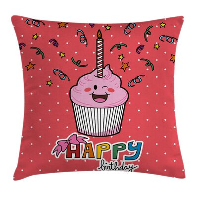 Kids Cupcake Confetti Bow Square Pillow Cover Size: 18