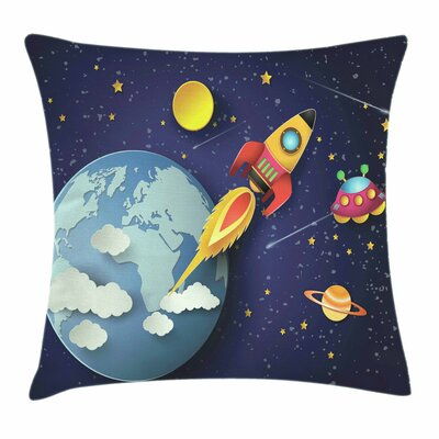 Space Rocket Earth Stars UFO Pillow Cover Size: 16 x 16