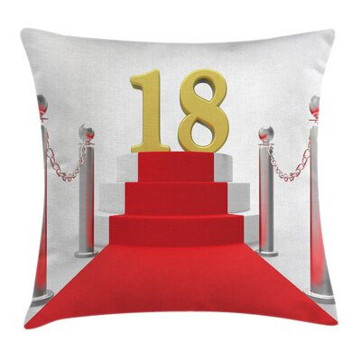 Birthday Teen Hollywood Greet Square Pillow Cover Size: 16 x 16