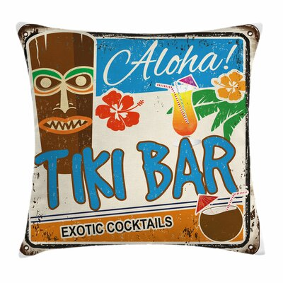 Tiki Bar Decor Vintage Sign Square Pillow Cover Size: 18 x 18