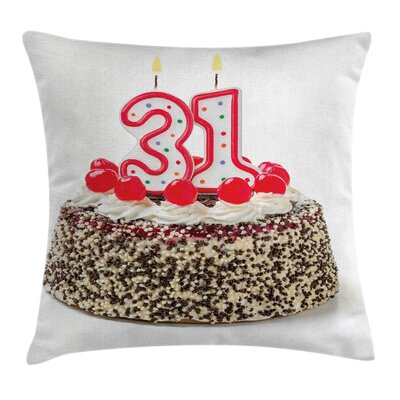 Party Cake Thirty One Candles Square Pillow Cover Size: 24 x 24