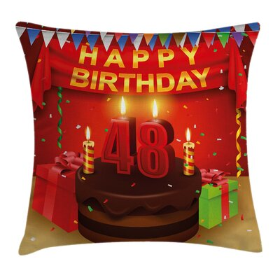 Birthday Present Cake Candle Square Pillow Cover Size: 24 x 24