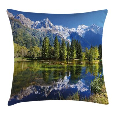 Outdoor Mountain Lake Evergreen Pillow Cover Size: 24 x 24