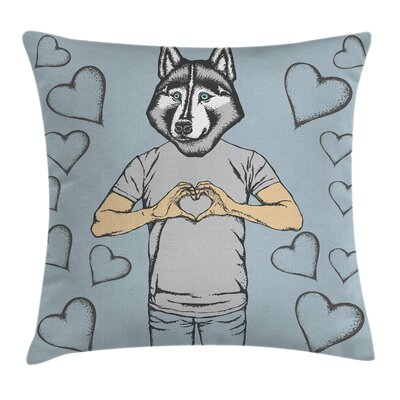 Valentine Dog Hearts Romantic Pillow Cover Size: 24 x 24