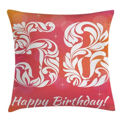 Birthday Number Old Age Motif Square Pillow Cover Size: 16 x 16