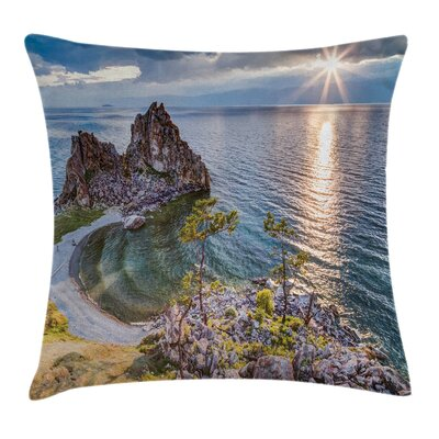 Travel Decor Shaman Rock Russia Pillow Cover Size: 18 x 18