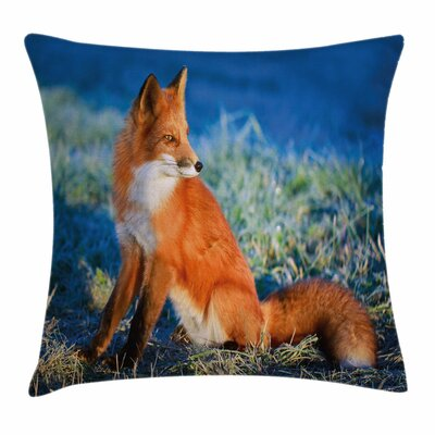 Fox Serene Cold Autumn Field Square Pillow Cover Size: 20 x 20