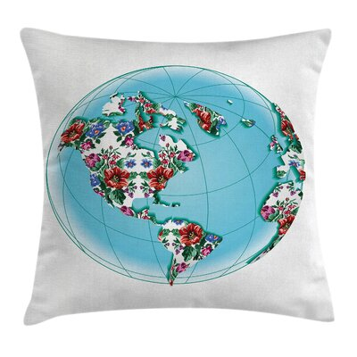Victorian Planet Earth Floral Pillow Cover Size: 16 x 16