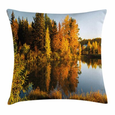 Fall Decor Lake Woodland Sunset Square Pillow Cover Size: 16 x 16
