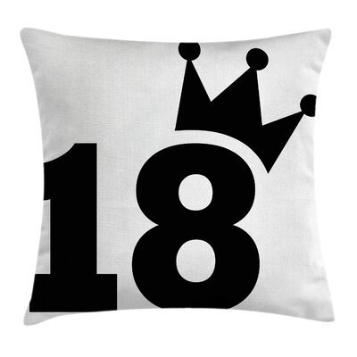 Cartoon Jersey Seem Bold Square Pillow Cover Size: 16 x 16