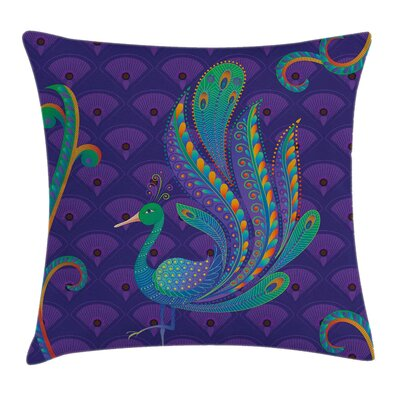 Peacock Oriental Bird Feather Pillow Cover Size: 20 x 20