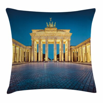 Travel Decor Brandenburg Gate Square Pillow Cover Size: 20 x 20