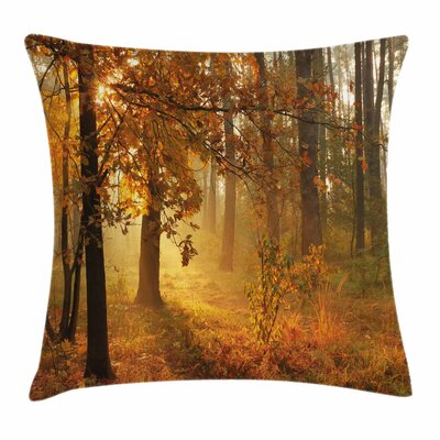 Fall Decor Misty Autumn Forest Square Pillow Cover Size: 18 x 18
