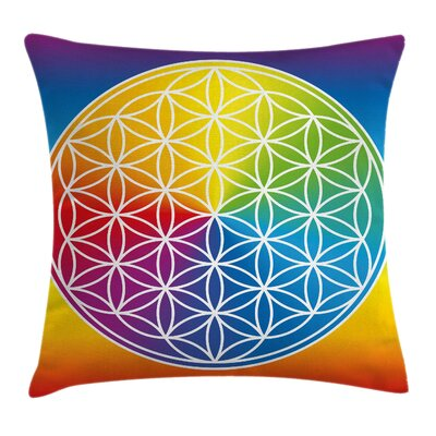Hippie Peace Flower Child Youth Pillow Cover Size: 18 x 18