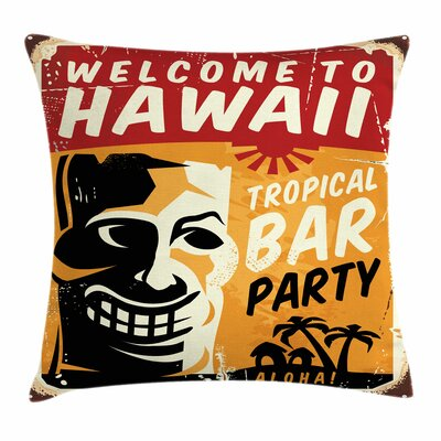 Tiki Bar Decor Tropic Bar Party Square Pillow Cover Size: 16 x 16