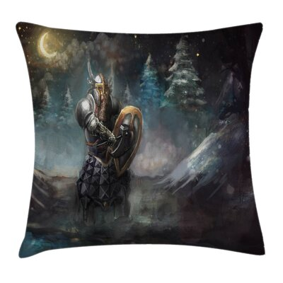 Fantasy Medieval Dwarf Knight Pillow Cover Size: 16 x 16