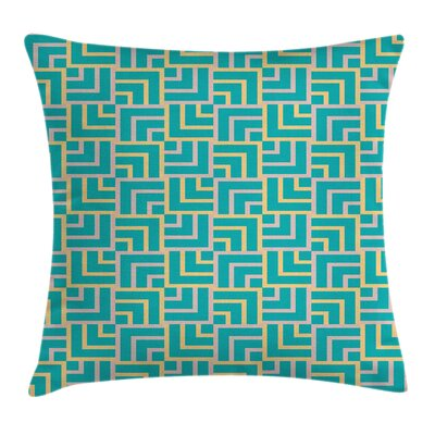 Turquoise Art Deco Lines Pillow Cover Size: 18 x 18