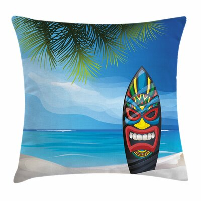 Tiki Bar Decor Tiki Surfboard Square Pillow Cover Size: 16 x 16