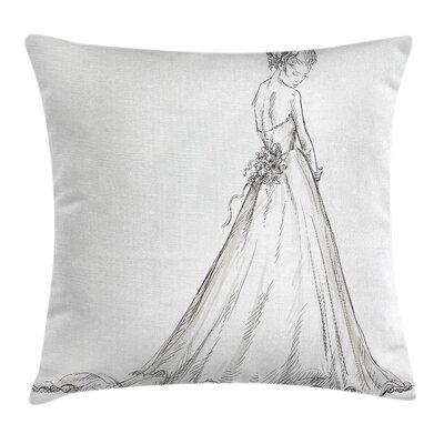 Bridal Princess Sketchy Bride Pillow Cover Size: 24 x 24