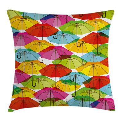 Colorful Vivid Umbrella Figures Pillow Cover Size: 18 x 18