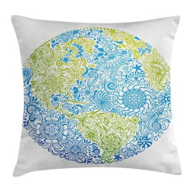 Floral Climate Change Theme Pillow Cover Size: 18 x 18