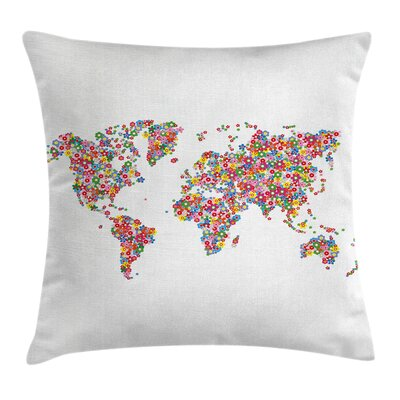 Earth Floral Planet Botanical Pillow Cover Size: 24 x 24