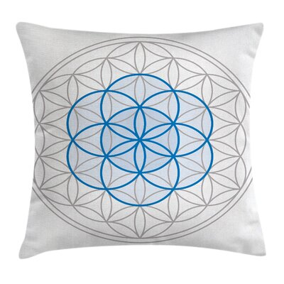 Flower of Life Oval Sacred Knot Pillow Cover Size: 16 x 16
