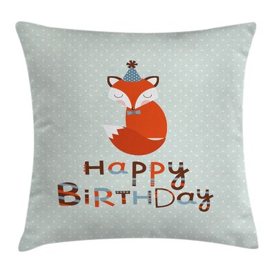 Vintage Cute Fox Greeting Text Square Pillow Cover Size: 18 x 18