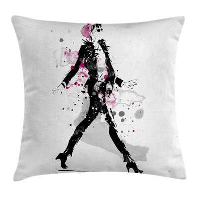 Vintage Stylish Woman Catwalk Pillow Cover Size: 18