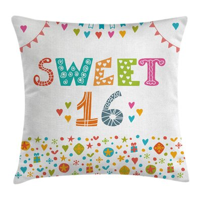 Retro Party Flags Cute Doodle Square Pillow Cover Size: 24 x 24